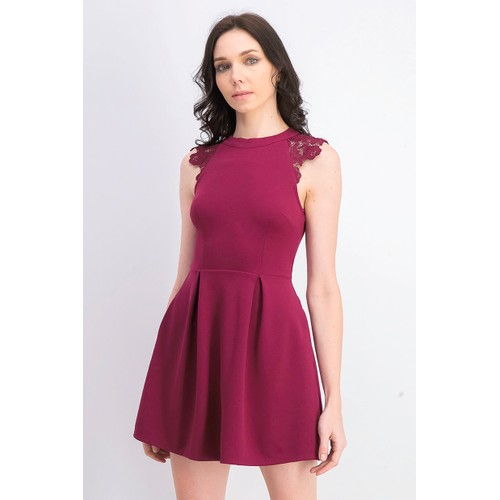 Speechless Juniors' Women's Lace-Contrast Fit & Flare Dress Red Size Small