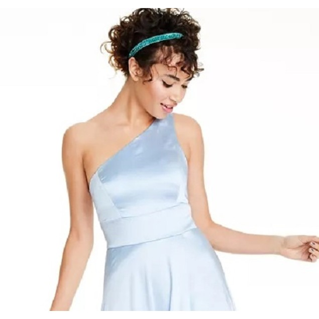 Speechless Juniors' One-Shoulder Satin Gown Med Blue Size 0