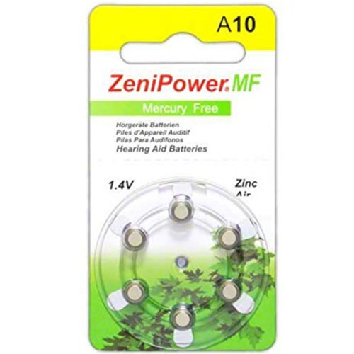ZeniPower Size 10 MF Zinc Air Hearing Aid Batteries (60 pack)