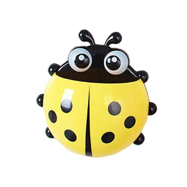 2 Pcs Ladybug Wall Suction Cup Mount Toothbrush Travel Organizer (Random Color)