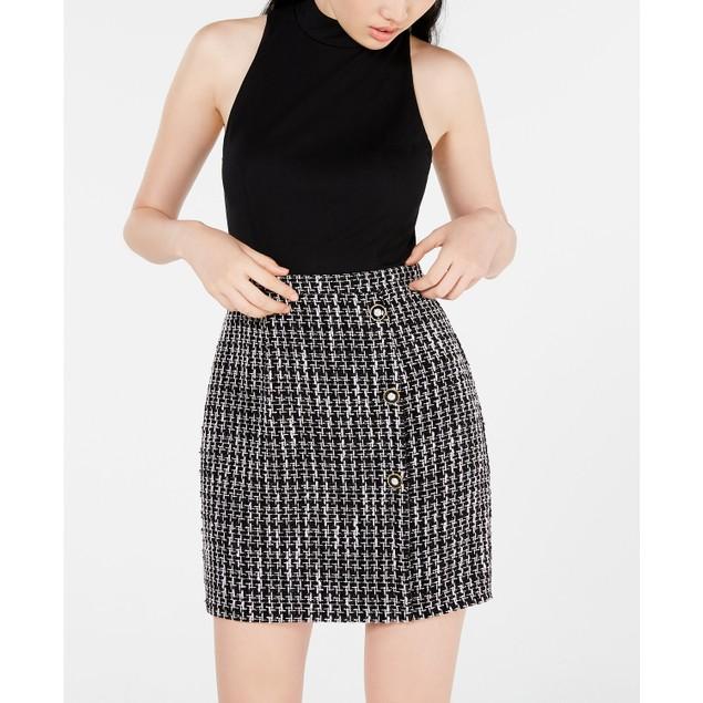 City Studios Juniors' Mock-Neck A-Line Dress Black Size 13