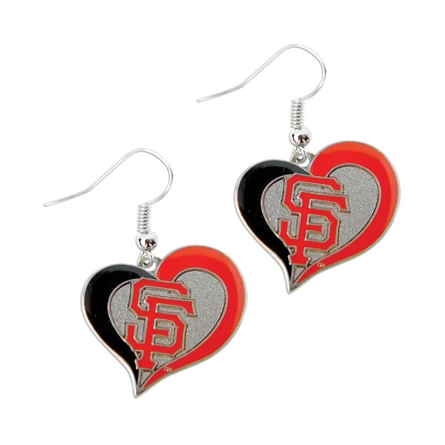 SAN Francisco Giants Swirl Heart Earring MLB Dangle Logo Charm Gift