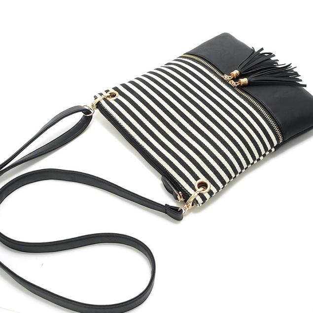 Contrasting Pu Simple Tassel Small Square Bag