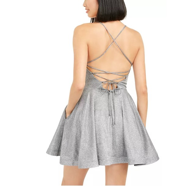 Speechless Juniors' Shimmer Lace-Back Dress Silver Size 1