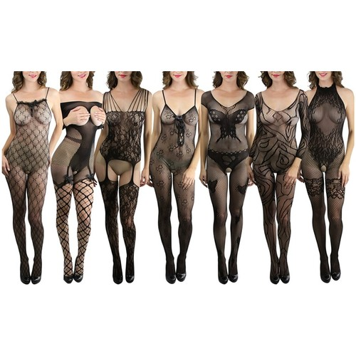 (3-Pack) ToBeInStyle Women's Mystery Sexy Bodystocking Assortment