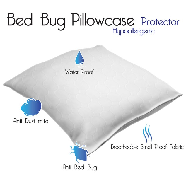 Bed Bug and Dust Mite Protector Cover Waterproof Cotton Pillowcase