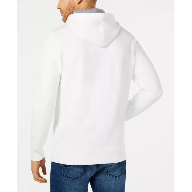 American Rag Men's Hoodie Blue Medium Leaf Mixed-Media White Size Medium
