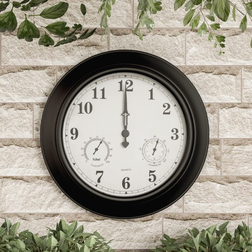 Wall Clock Thermometer-Indoor Outdoor Decorative 18 in