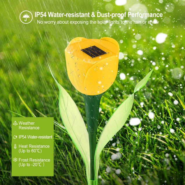 SolarEK 6 Pcs Solar Garden Tulip Flower Light Outdoor Solar Pathway light