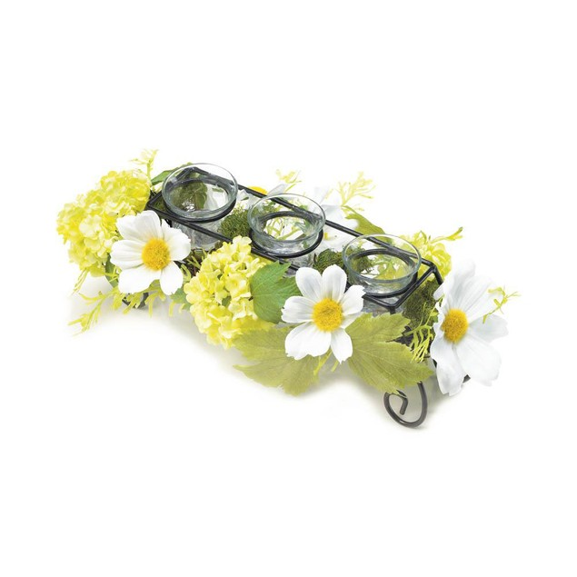 Accent Plus Blooming Faux Daisy Candle Holder