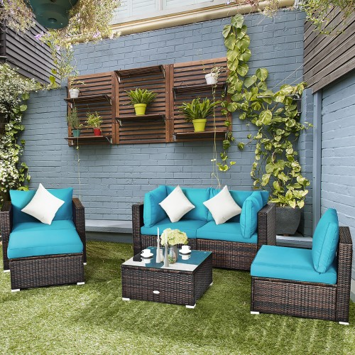 Costway 6PCS Rattan Patio Set With Coffee Table