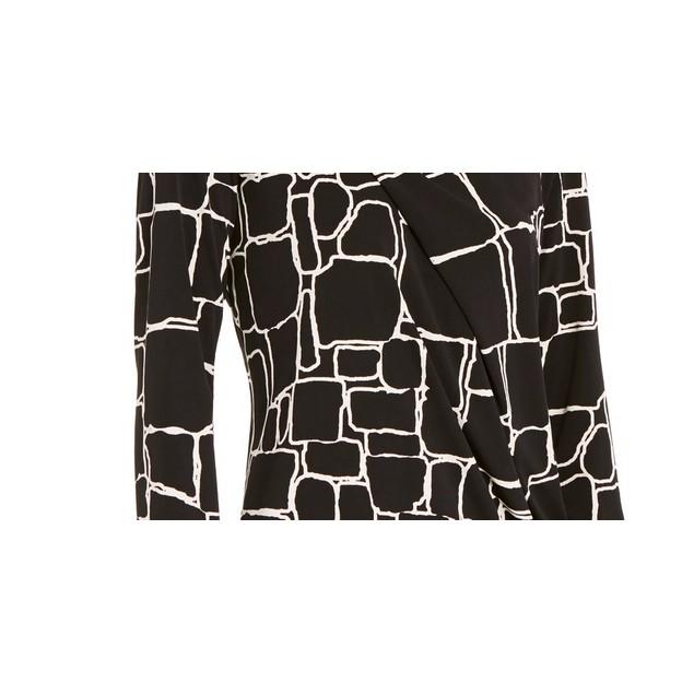 Alfani Women's Printed Pleat-Front Top Black Size Large