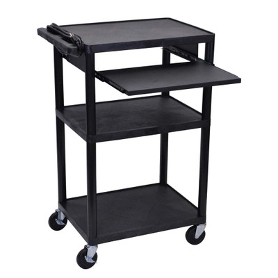 """Luxor 42"""" Three Flat Shelves AV Electric Cart with Pullout - Black"""
