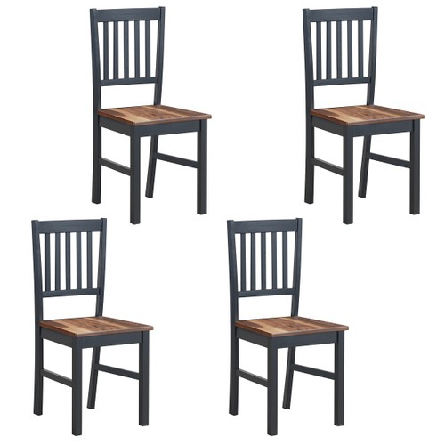 Set of 4 Dining Chair Kitchen Black Spindle Back Side Chair with Solid Wood