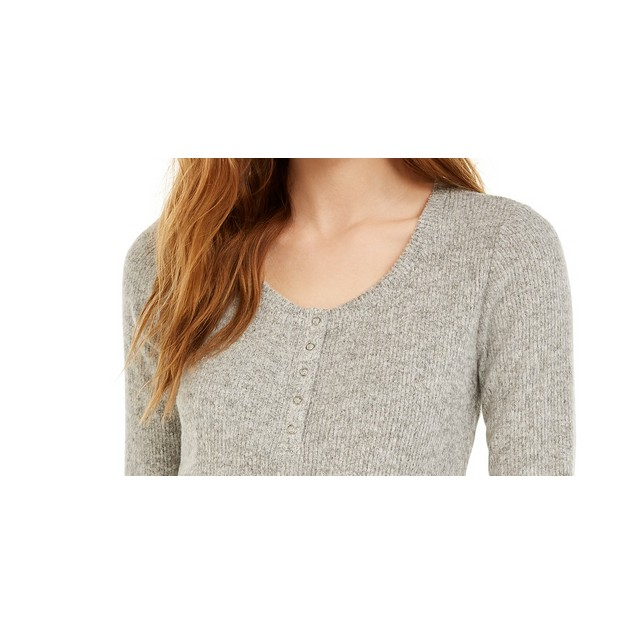 Hippie Rose Juniors' Henley Top Gray Size Extra Large
