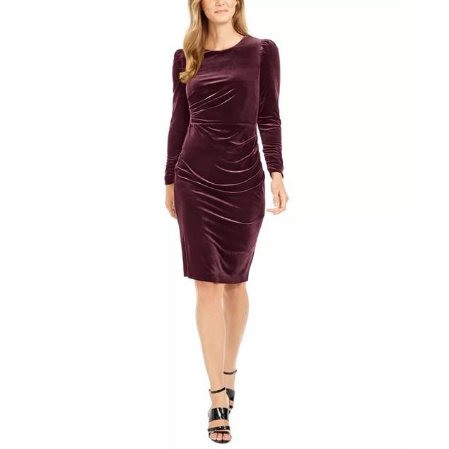 Calvin Klein Women's Ruched Velvet Sheath Dress Purple Size 1