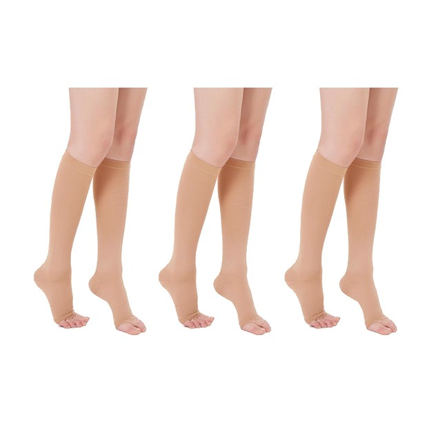 Knee High Open-Toe Compression Socks (3-Pack)