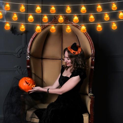 Halloween String Lights 20 LED Orange Pumpkin Lights