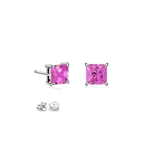 Sterling Silver 4mm Hot Pink Cubic Zircon Square Stud Earrings