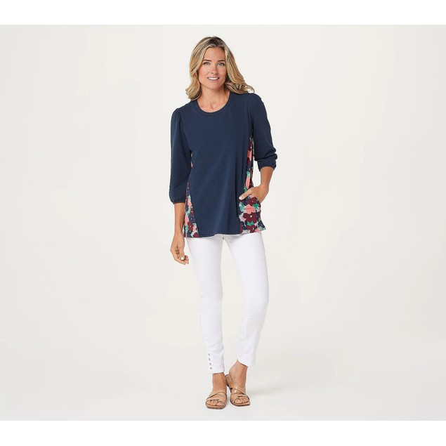 LOGO Lounge by Lori Goldstein Cotton French Back Printed Terry Top,