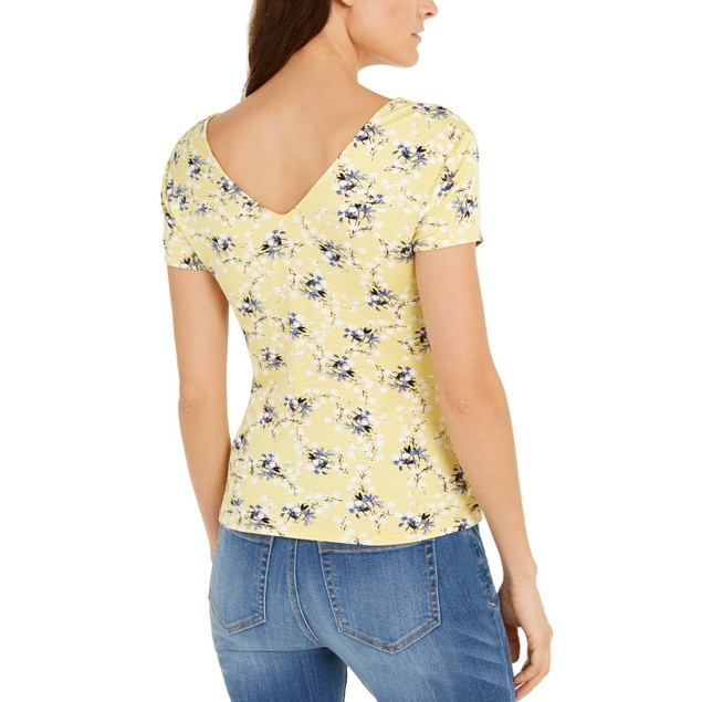 INC International Concepts Wo Ruched-Front T-Shirt Yellow Extra Large