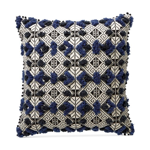 """Lucky Brand Hand Tufted Reversible Geometric Jacquard Square Pillow, 20"""","""