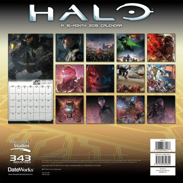 Halo 2018 Wall Calendar