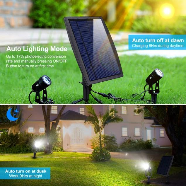 Twin Solar Spotlight Outdoor Light Sensor Lamps