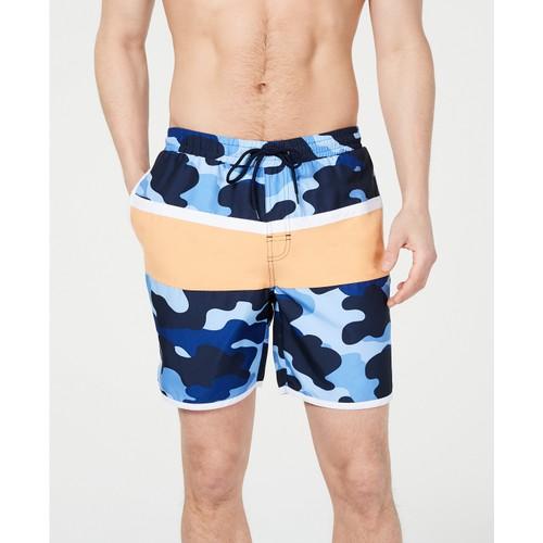 "Club Room Men's Colorblocked Camo 7"" Swim Trunks  Navy Size Small"