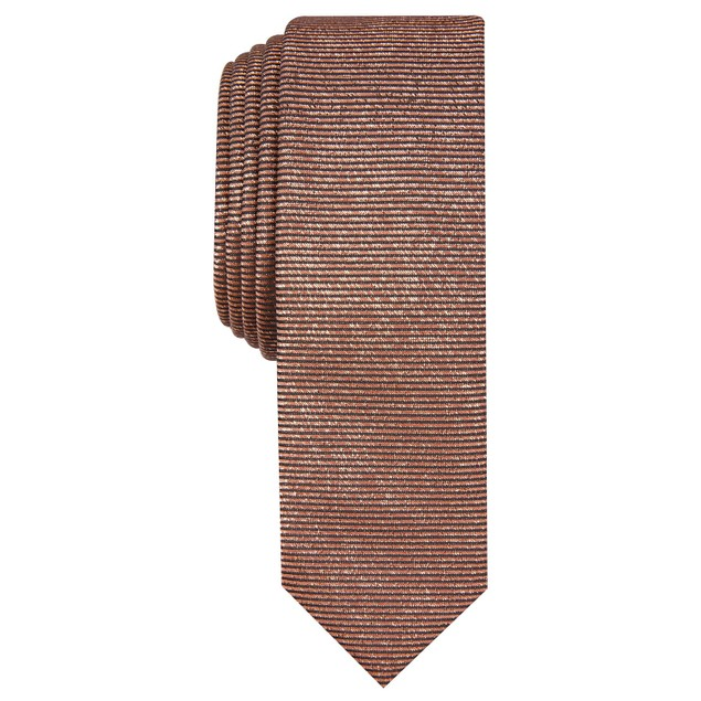 INC International Concepts Men's Solid Metallic Tie Brown Size Regular
