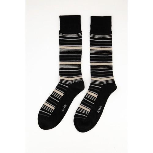Alfani Men's Variegated Stripe Dress Socks Black Size Regular