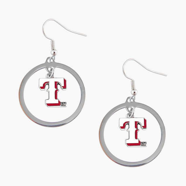MLB Texas Rangers Floating Logo Hoop  Earring Set Charm Gift