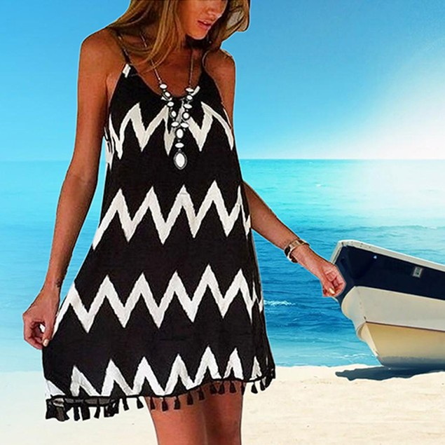 Women's Fashion Summer Sexy Wave Pattern Dress
