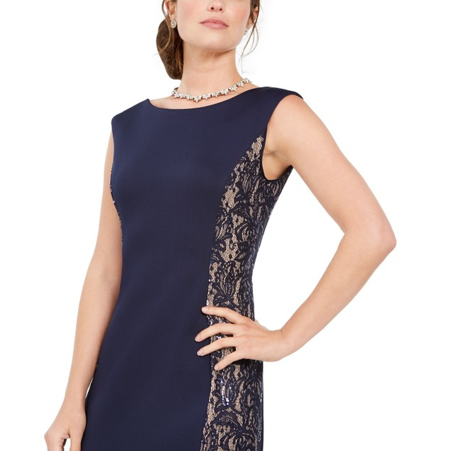 Jessica Howard Women's Sequined-Lace Scuba Mermaid Gown Navy Size 10