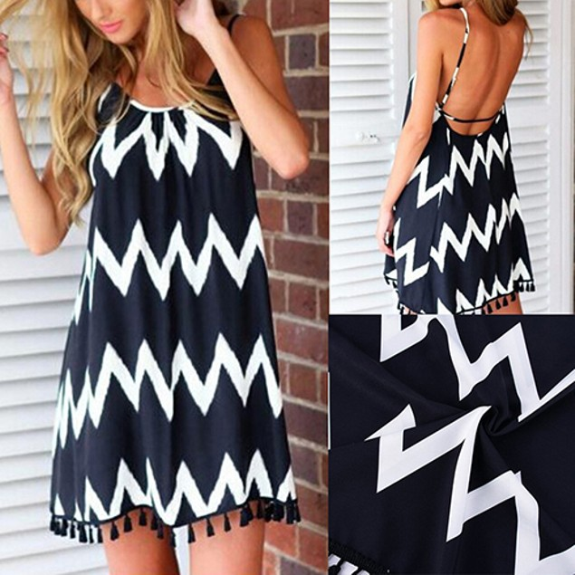 Chevron Wave Pattern Dress