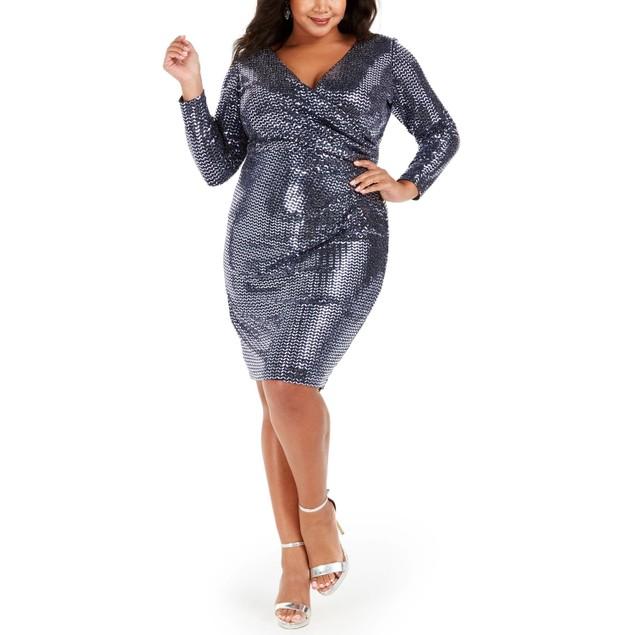 Betsy & Adam Women's Plus Size Sequin Wrap Dress Navy Size 18