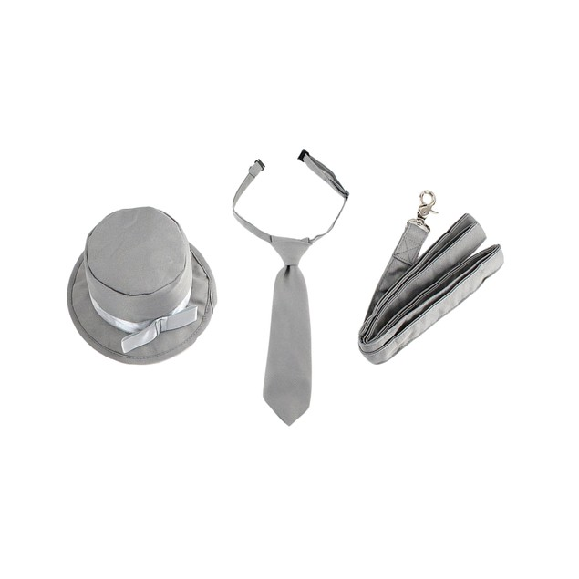 Midlee Dog Tuxedo Wedding Suit- Gray Top Hat & Leash