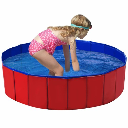 "Costway 48"" Foldable Kiddie Pool Kids Bath Tub Ball Pit Playpen Indoor Outd"