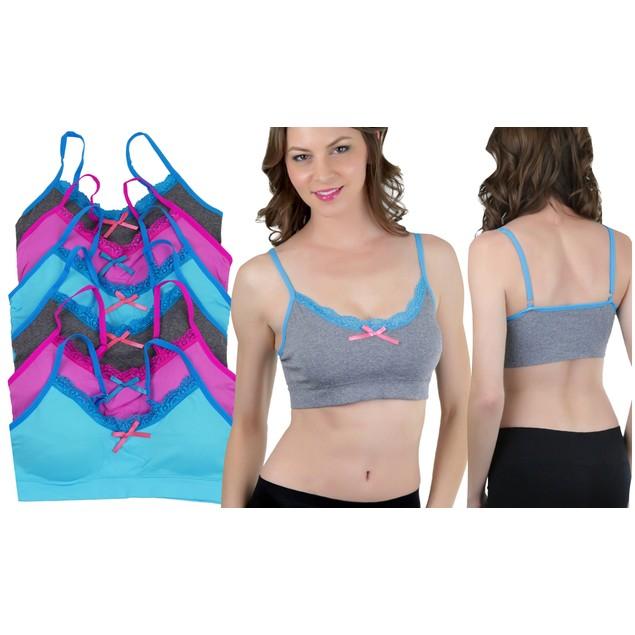 (3 Pack) Solid Color Contrast Lace Trim Bralette Bras