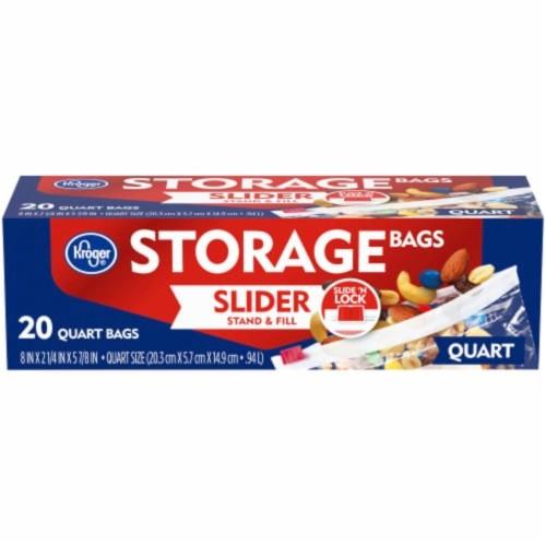 Kroger Slide 'N Lock Quart Storage Bags, Slider, Stand, and Fill, 20 Count
