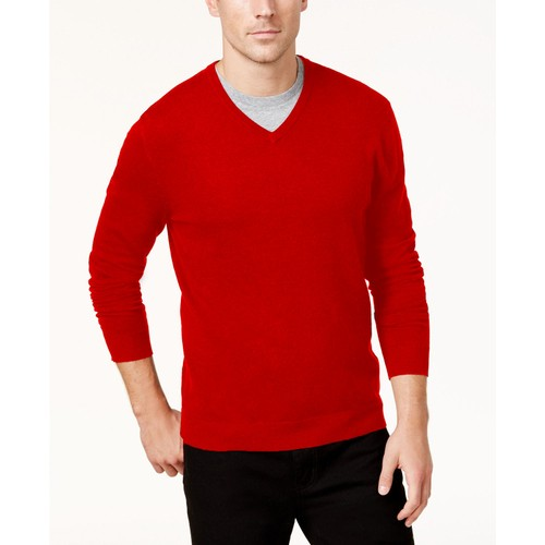 Alfani Men's Cherry Candy Solid Knit V-Neck Sweater Red Size Large