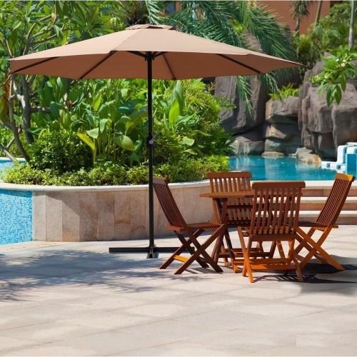 9FT Table Umbrella 1.5 Diameter Pole Outdoor Garden Patio Adjustable Crank Easy Ratcheting Folding 8 Ribs Tan