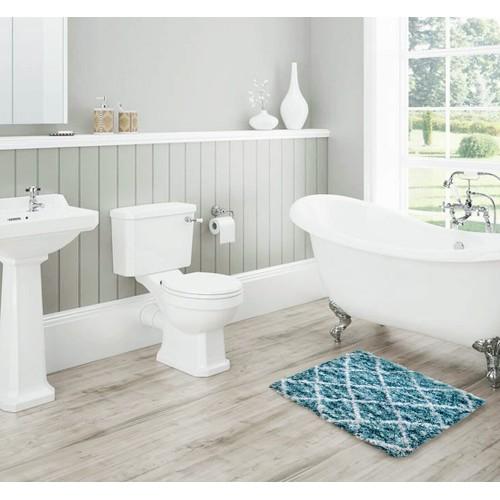 """Ultra-Soft Absorbent 17"""" x 24"""" Anti-Slip Jacquard Bath Mats"""