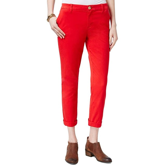 Tommy Hilfiger Women's Cuffed Chino Straight-Leg Pants Dark Red Size 4