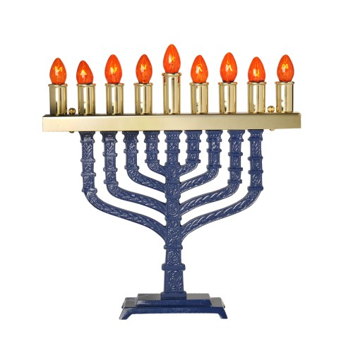 Electric Blue Enamel Menorah Comes with a set of bulbs Candle Holders