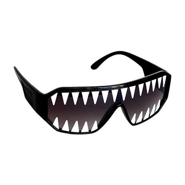 Macho Wrestler Sunglasses Mini Shark Teeth on Black Lens with Black Frame
