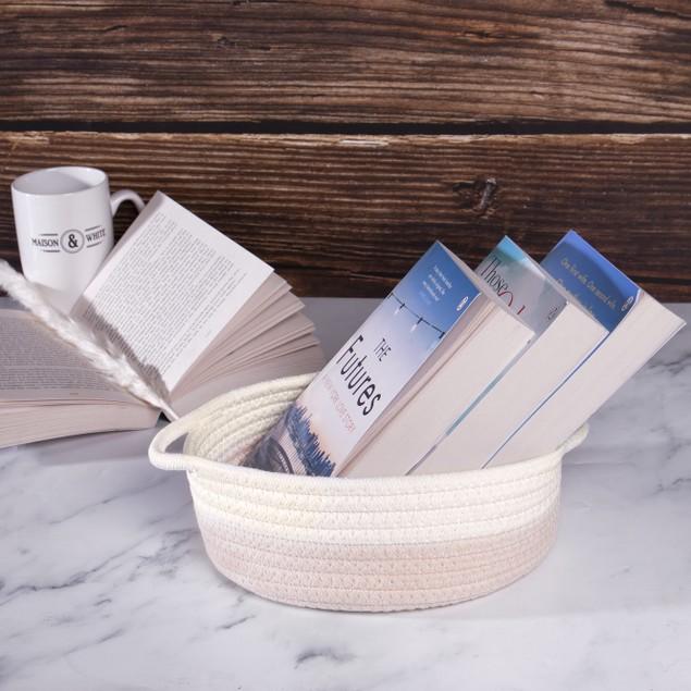 Cotton Rope Storage Baskets - Set of 2 | MandW Cream and White