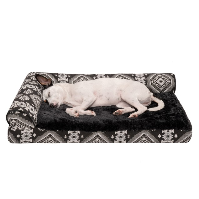 FurHaven Cooling Gel Orthopedic Kilim Deluxe L-Chaise Lounge Pet Bed