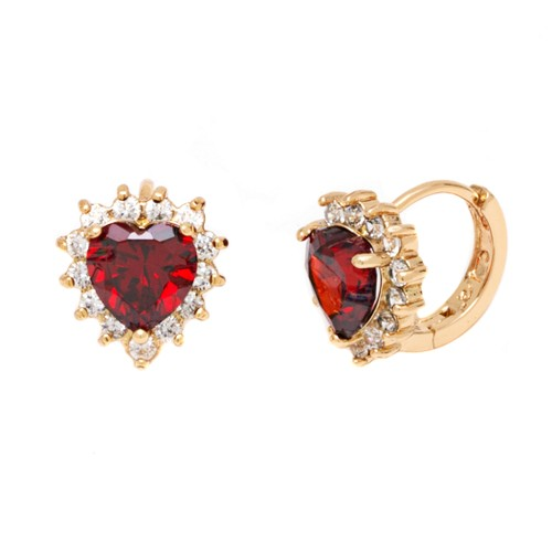 Ruby Heart with Omega Back Closure