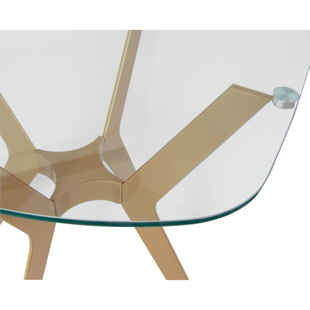 """Studio Designs Archtech Modern End Table 24"""" in Gold / Clear Glass"""